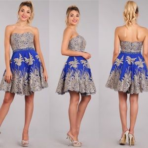 My Fashion 1698 Royal Blue with Gold Lace